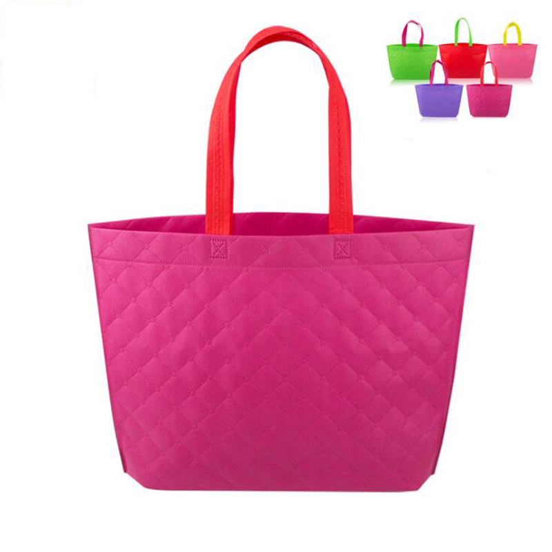 500pcs/lot ECO Plaid Clothes Storage Case Tote Recycle Non-Woven Fabric Supermarket Shopping Bag