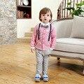 Bebé trajes de niño con traje de pantalones de la liga niños spirng atummn recortada mode enfant chicos pantalones + camisa a rayas leopardo conjunto rosa