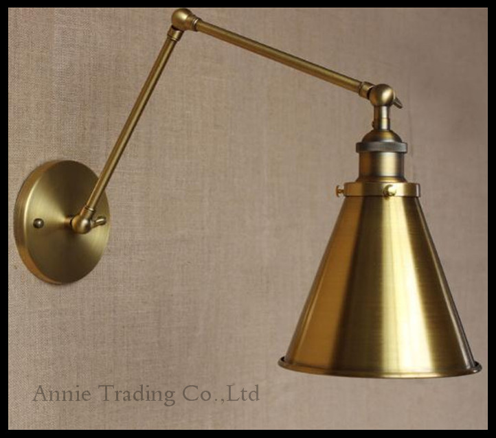 ФОТО Industrial Retro Wall Lights110-220V/230V E27 Wall Sconce Handle Metal Bronze funnel filler lampshade Wall Lamp lampara