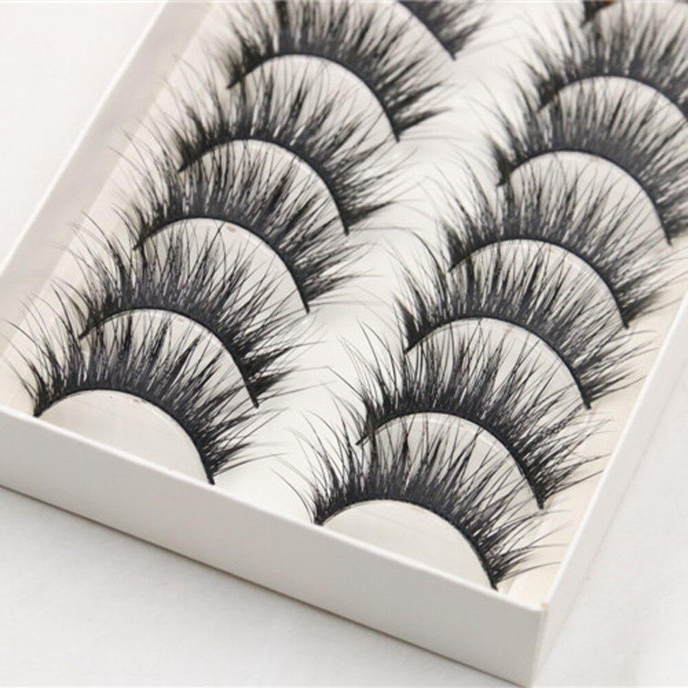 10 Pairs Thick Long Cross Party False Eyelashes Black Band Fake Handmade Long Extensions Natural Eye Lashes