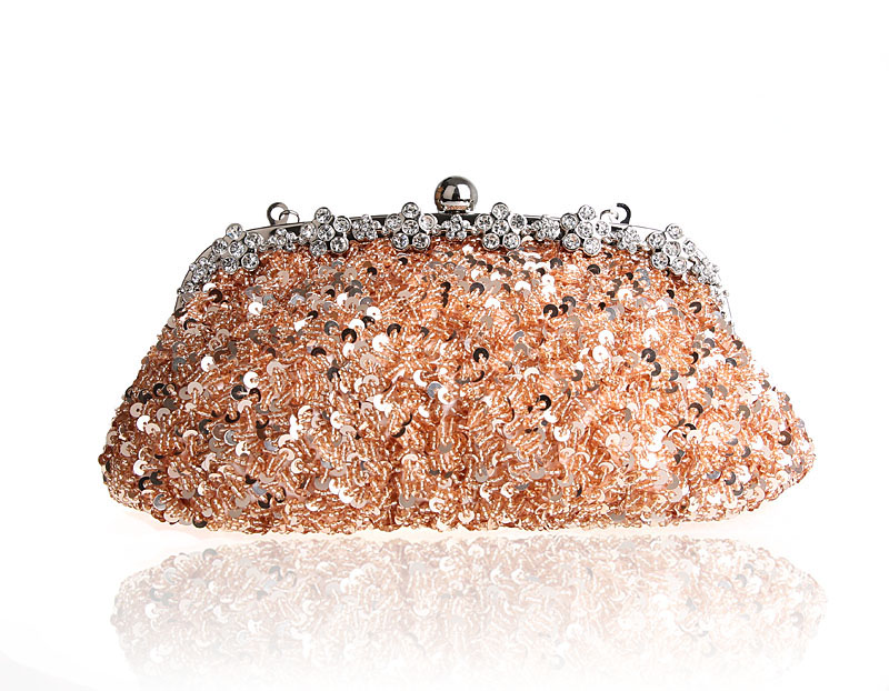 High Quality Champagne Ladies Beaded Sequined Wedding Evening Bag Clutch handbag Bride Party Purse Mini Makeup Bag Bolso 03396-2 boutique charm full of high quality diamond fashion party mini purse clutch evening bag ladies handbag shoulder bag wallet 88631