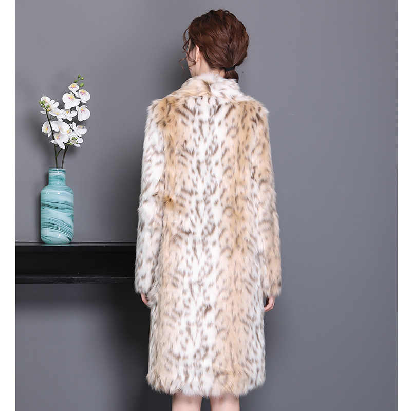 Nerazzurri Leopard print coat women turn down collar long plus size leopard fur coat 6xl 7xl furry faux fur jacket 2019 winter