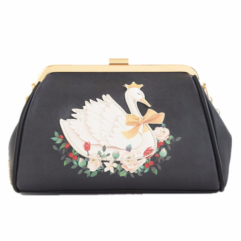 Women Shoulder Bags Hot Europe Style Retro Chains Metal Frame Fashion Swan