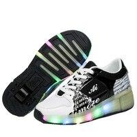 2018 Children Wheel shoes, Junior Girls&Boys LED Light Shoes, Children Roller Skate Shoes, Kids Sneakers With Wheels 16 colors