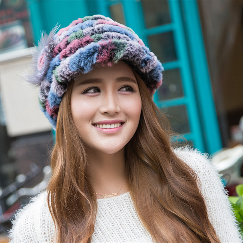 9f100e4075282 Real Rex Rabbit Fur Hat Thick Wool Knitted Rabbit Fur Cap Winter Warm Women  Rabbit Fur Hat New -in Skullies   Beanies from Apparel Accessories on ...