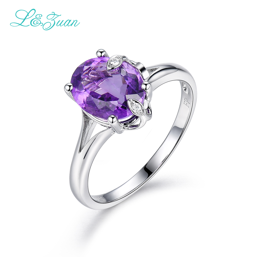 l&zuan Sterling Silver jewelry ring Natural 2.48ct Amethyst Purple Stone Prong Setting Ring Jewelry ring for Woman