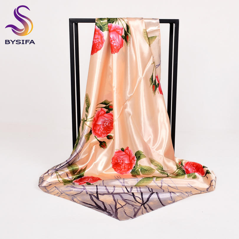 [BYSIFA] Chinese Roses Women Silk   Scarf   Shawl 2018 Spring Autumn New Design Beige And Grey Satin Large Square   Scarves     Wraps