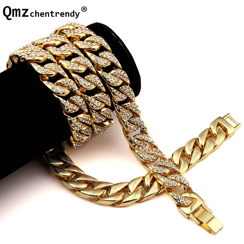 Hip Hop Bling Fully Iced Out Men's Electroplated Miami Cuban Link Chain Gold Necklace Simulated Gemstone Hipster Jewelry