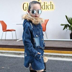 Image 2 - 2020 children kids girls denim jacket large fur collar cotton denim outerwear Autumn Winter plus thick velvet jacket for girls