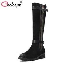 Coolcept/женские ботинки на плоской подошве из натуральной кожи зимние сапоги до бедра женская обувь из металла модные сапоги с пряжкой обувь; размеры 34–40
