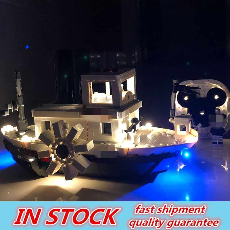 Movies Series DisneyING Steamboat Willie Set With Led Light Building Blocks Bricks Ideas Boy Kids Birthday Gifts