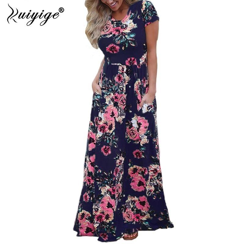 Ruiyige 2018 Summer Long Dress Floral Print Boho Beach Dresses Sundress Women Tunic Party Short Sleeve Pocket Maxi Vestidos