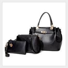 2017 hot sell quality fashion luxury branded designer leather women purse and handbag set 3pcs shoulder