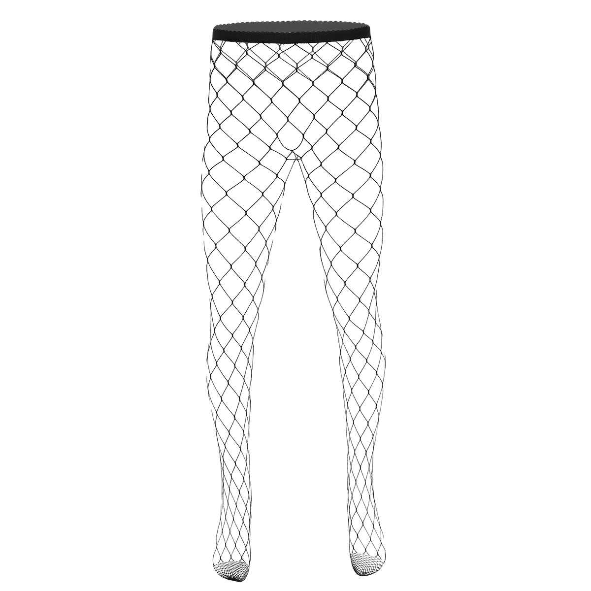 iEFiEL Mens See Through Sheer Fishnet Leggings Pantyhose Stockings Good Stretchy Closed Toes Hollow-out Pantyhose Exotic Hosiery