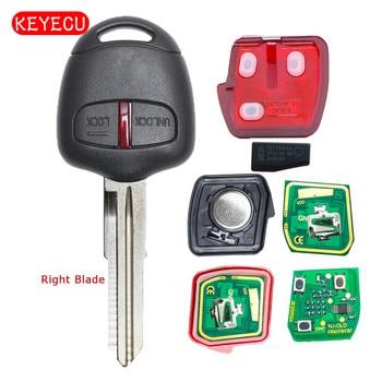Keyecu Fob Chiave A Distanza 2 Pulsante 433 mhz ID46 Chip per Mitsubishi Lancer 2009-2014 FCC ID: g8D-576M-A MIT11R Lama A Destra