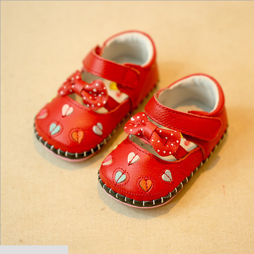 Summer Style New 2016 Sweet Princess Heart-Shaped Baby Girls First Walkers Soft Breathable Genuine Leather Baby Shoes #2184