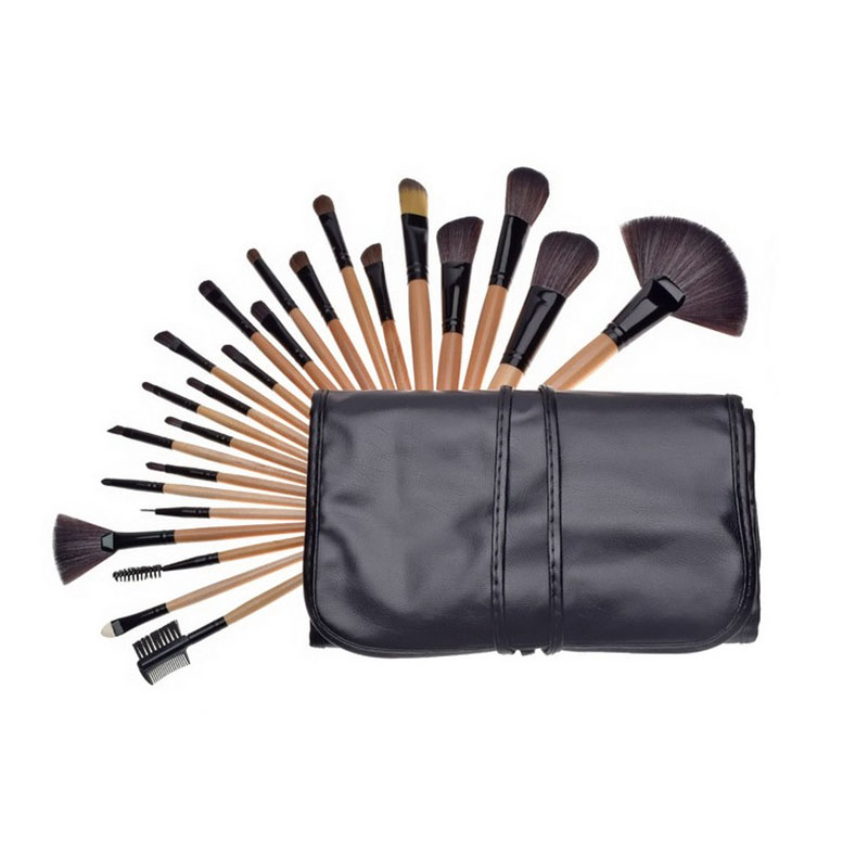 New 24pcs Professional Complete Good Quality Wooden Powder Eyeshadow Contour Concealer Brushes PU Leather Bag Make Up Brush Set