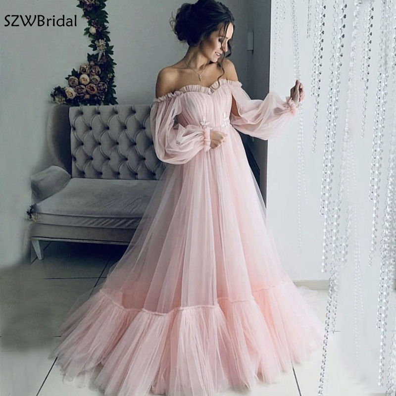 New Arrival Pink Tulle Evening Dress Abendkleider 2019 Long Sleeves Formal Dress Long Maternity Evening Gown For Pregnant Woman
