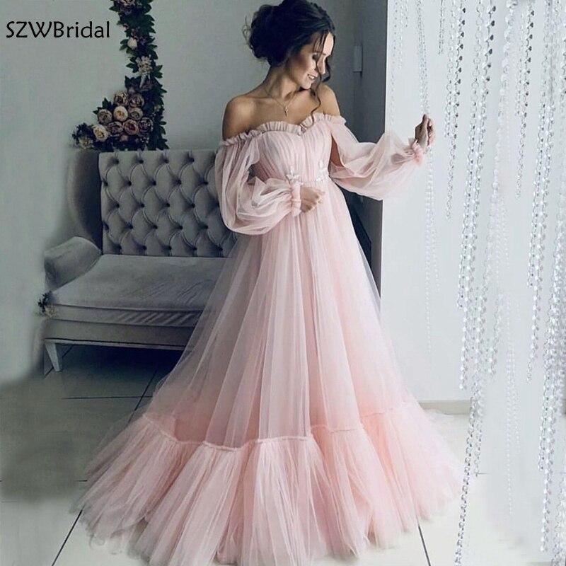 Nouveauté robe de soirée en Tulle rose abendkleider 2019 manches longues robe formelle longue robe de soirée de maternité pour femme enceinte