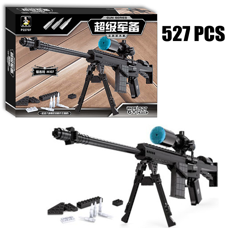 Large Sniper Rifle Building Blocks 527pcs Bricks Educational Toys Model Building Kits DIY Mechanical Lovers Block magpul g lt p moe sniper rifle limited edition