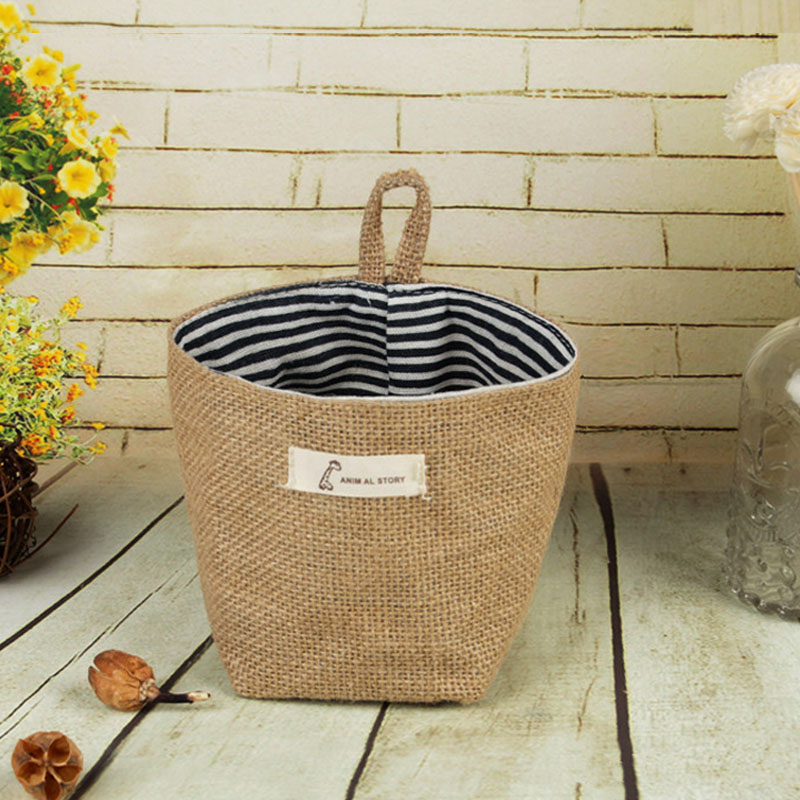 Hot Sale Stripe Sundries Organizer Home Decor Cosmetic Organiser Small Sack Storage Bag Hanging Pocket Cotton Linen