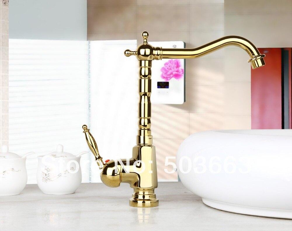 Best Golden Kitchen Swivel Basin Sink Deck Mounted Single Hole Ceramic Single Handle Faucet Tap MF