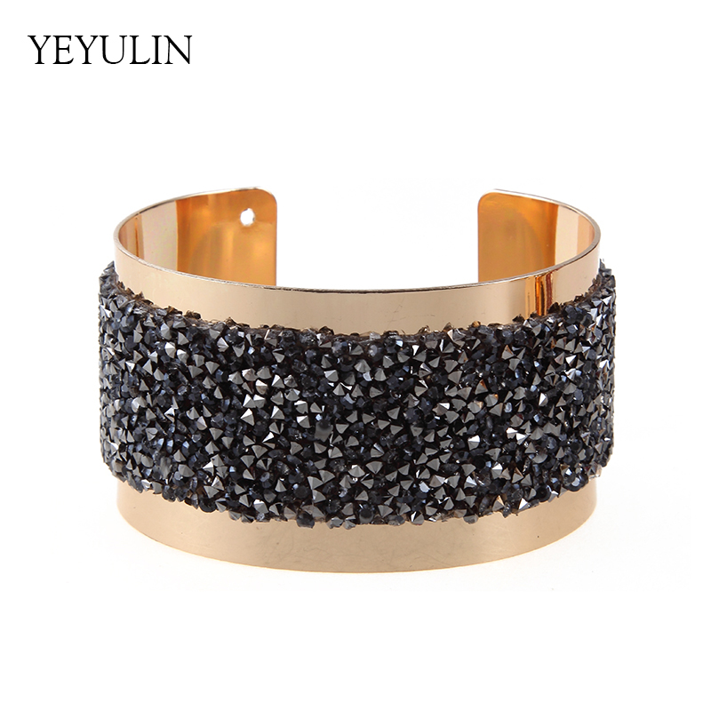 New Arrival Gold Color Full Crystal Wide Cuff Bracelets European And American Style Female Max Statement Bracelet Jewelry Gift