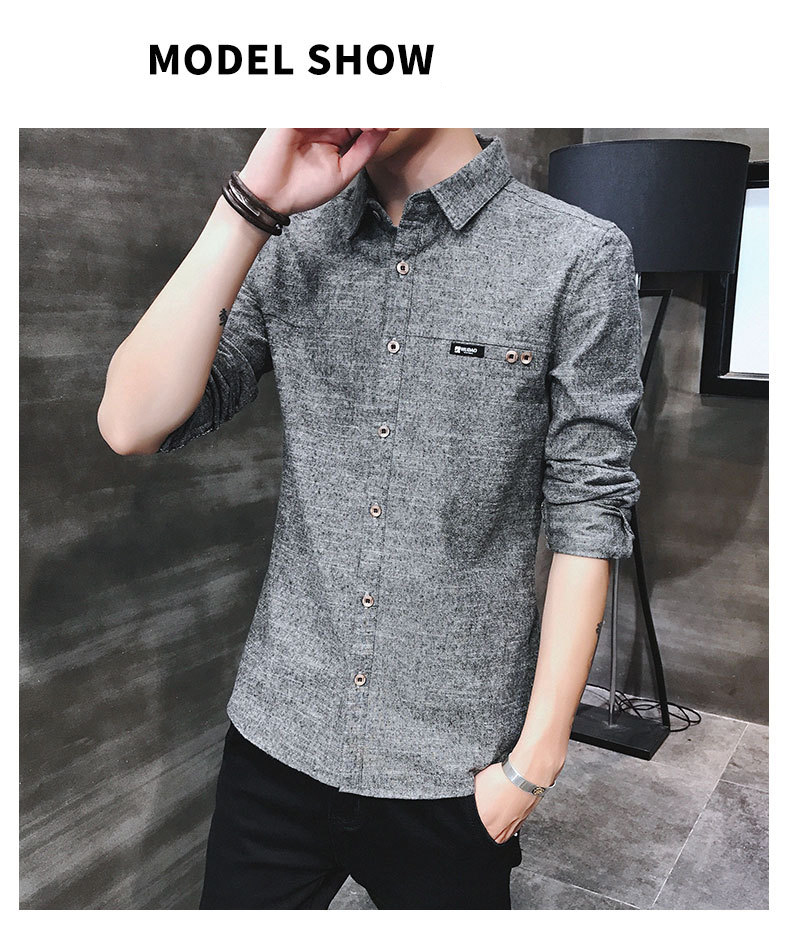 2019 spring new men's shirt Korean version of the self-cultivation youth casual business cotton shirt tide men's boutique shirt 36