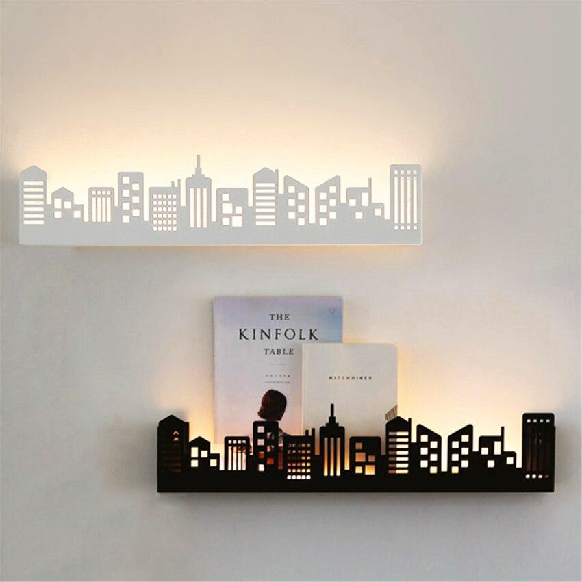Lampe de mur LED moderne Style scandinavie LED de ville appliques lumières étagère luminaires salon chambre appliques Luminaire