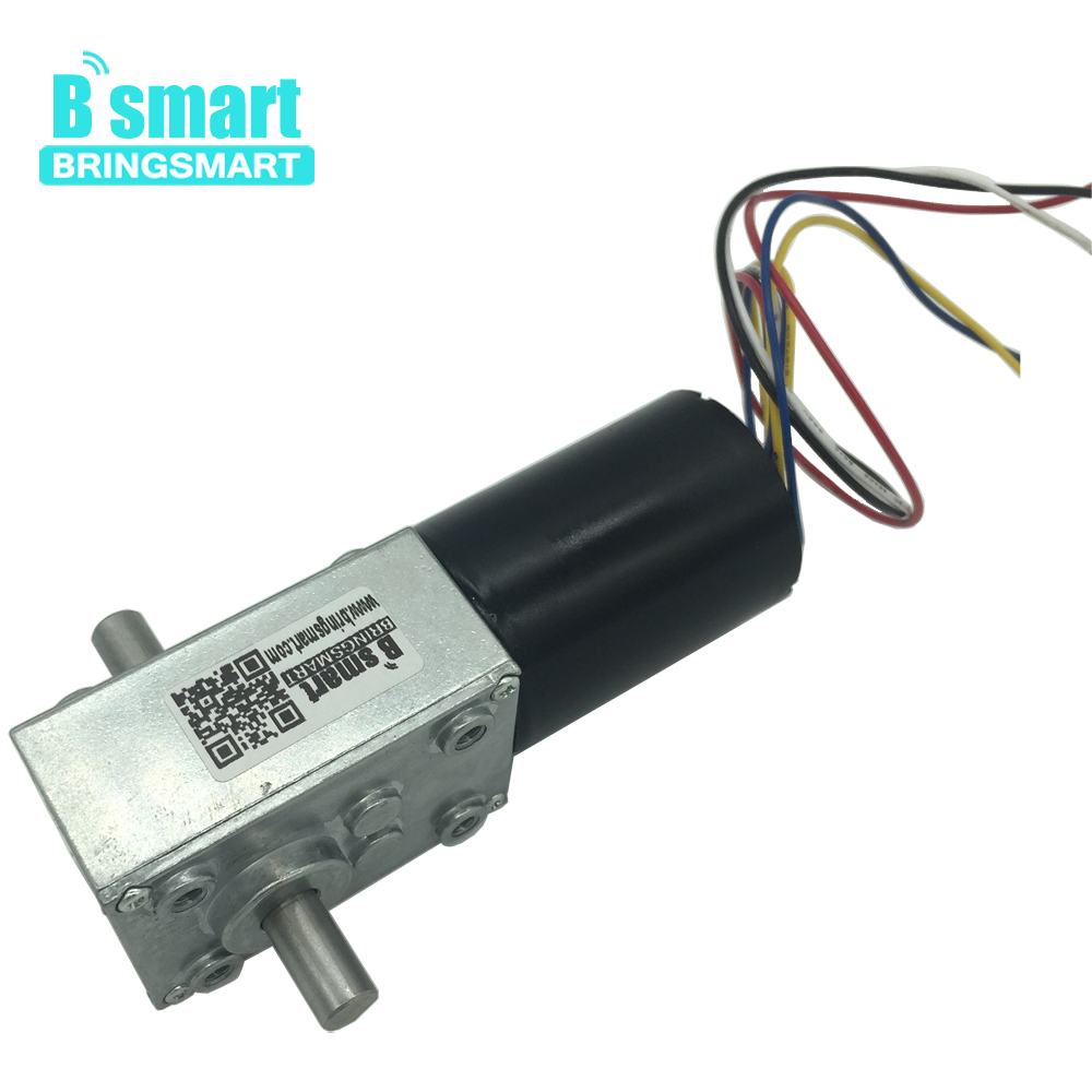 Bringsmart 5840-3650 DC Motor Reductor 12V Worm Gear Motor 24V Brushless Motor Double Shaft Mini Gearbox Self-lock Brake Engine bringsmart worm gear motor high torque 70kg cm 12v dc motor mini gearbox 24v motor reversed self lock engine diy parts a58sw31zy