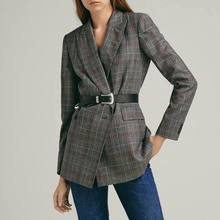 Spring 2019 New Euro-American Style Slimming Coat Suit Women Jacket Women Coat Button Notched Double Breasted Plaid