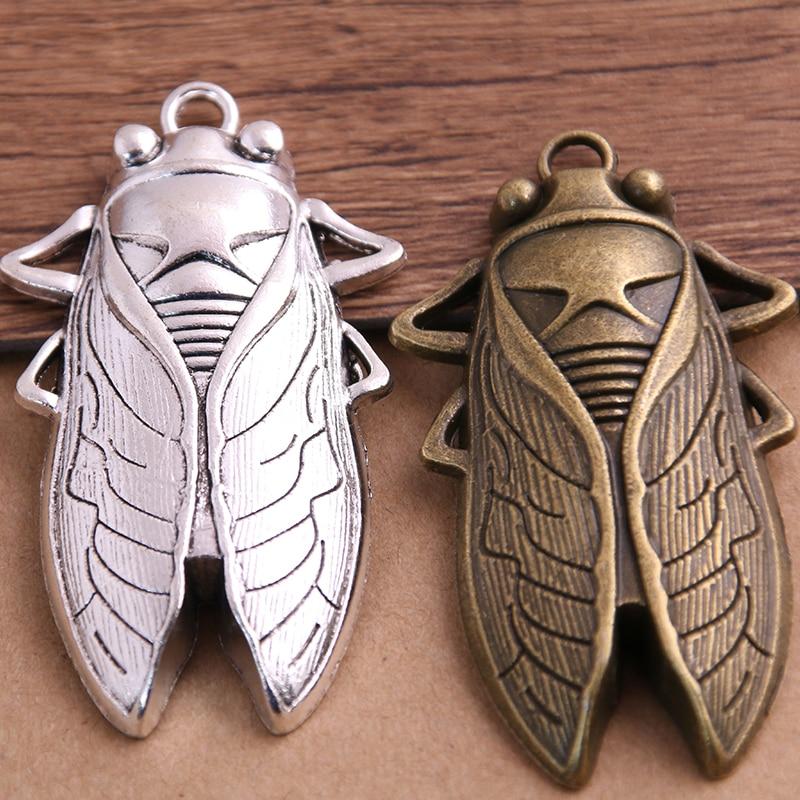 PULCHRITUDE 2PCS 34*61mm Big Cicada Charms Trendy Diy Metal Handmade Charms DIY Jewelry Animals Cicada Pendant Charms