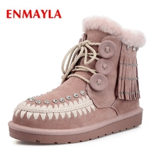 цены ENMAYLA  Basic  Round Toe  Lace-Up  Ankle  Boots Women  Zapatos De Mujer  Women Shoes  Snow Boots Women Size 34-43 ZYL1514