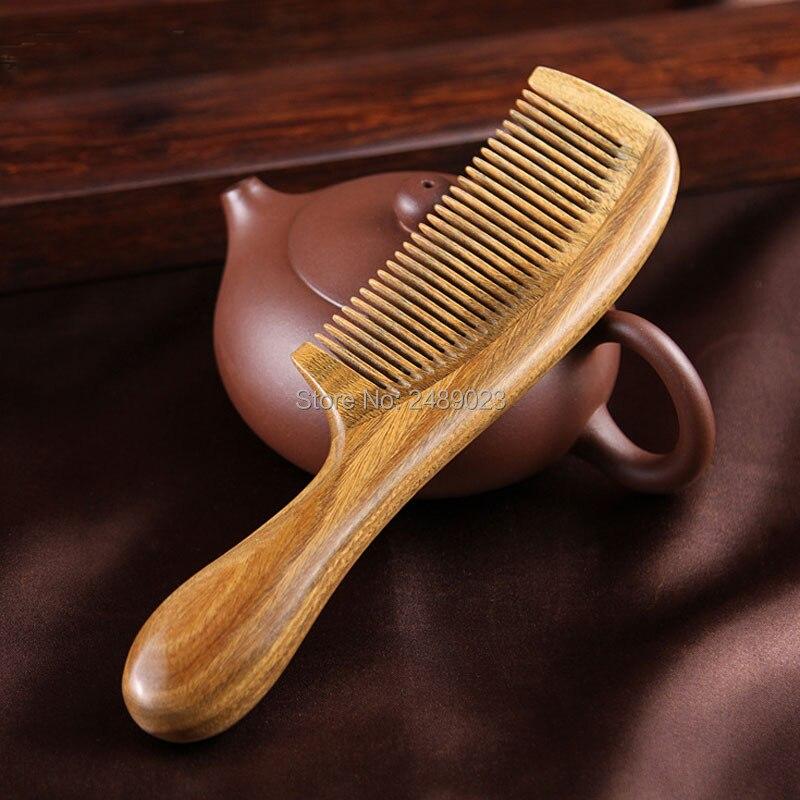 1 Pcs Handicraft Wooden Round Handle Sandal Hair Combs Natural Sandalwood Fine Comb Anti-Static Care