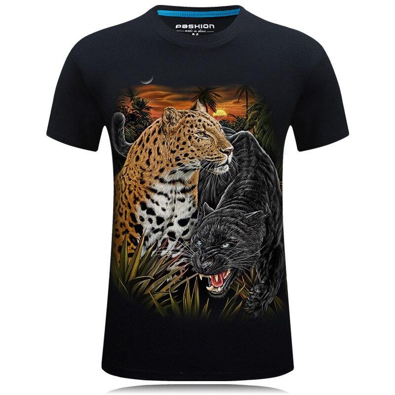 2017 new 3D t shirt short-sleeved men's T-shirt stereo Cheetah personality round neck t-shirt 5XL 6XL tshirt men clothes 2018