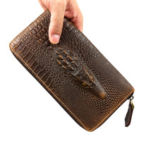 Crocodile Alligator Genuine Leather 2016 new leather wallet zipper hand bag head layer cowhide crocodile bag Best gift for men