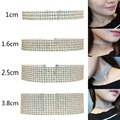 4 Gothic Styles Colorful Crystal Choker Necklace Layer White Crystal Chocker Silver Plated Necklace Charm Jewelry For Women