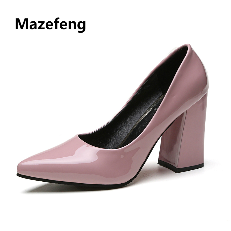 Mazefeng 2018 New Fashion Summer Women High-Heeled Shoes Classic Style Women Pumps Solid Color Ladies Pumps Slip-On Square Heels xiaying smile new summer women sandals high square heels pumps fashion platform shoes casual lady mature style slip on shoes