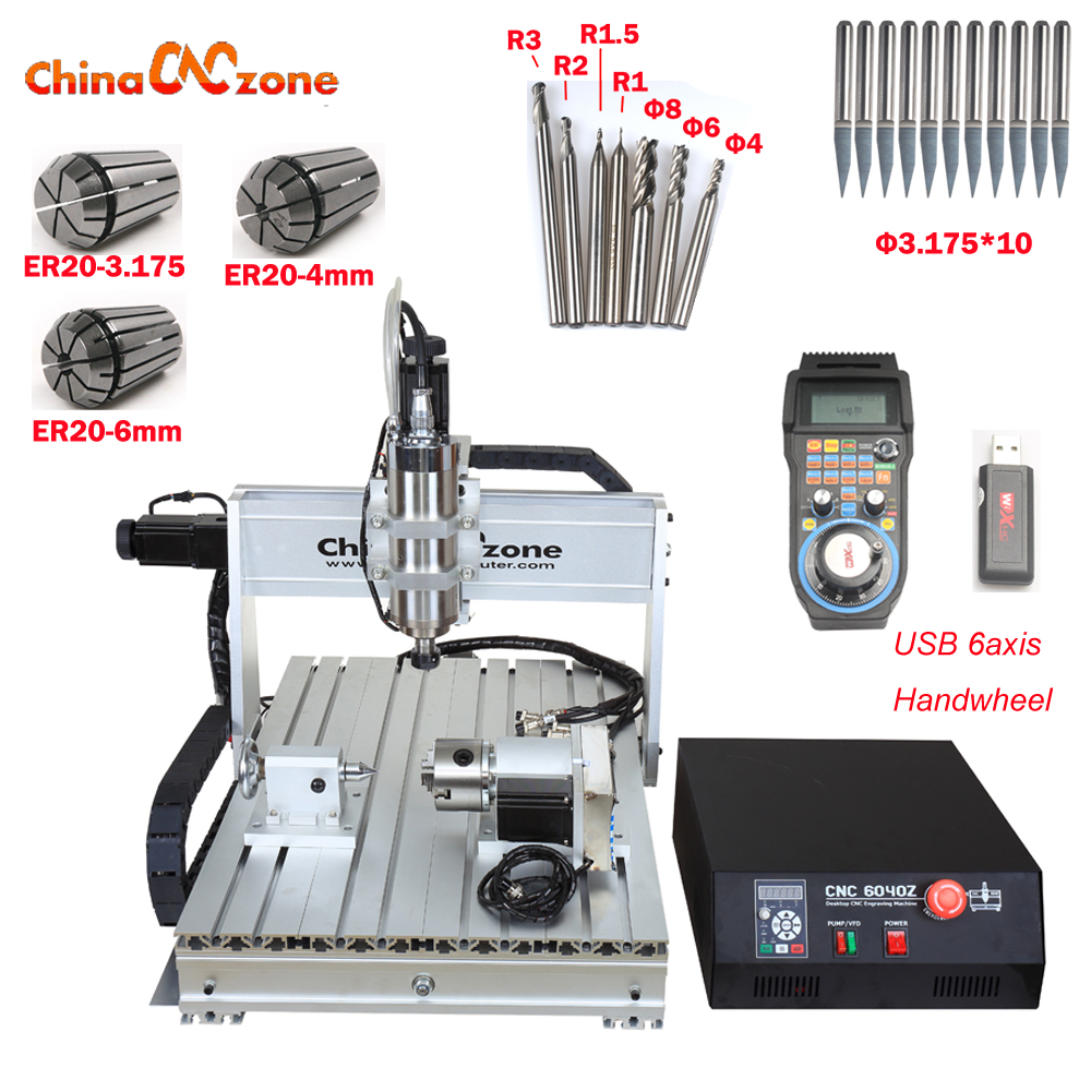 CNC 6040 2.2KW 4 axis CNC router CNC wood carving machine USB Mach3 control Woodworking Milling Engraver Machine with Cooling no tax to russia 4 axis cnc milling machine cnc 6040 router engraver usb 2 2kw with rotary axis cnc controller and limit switch