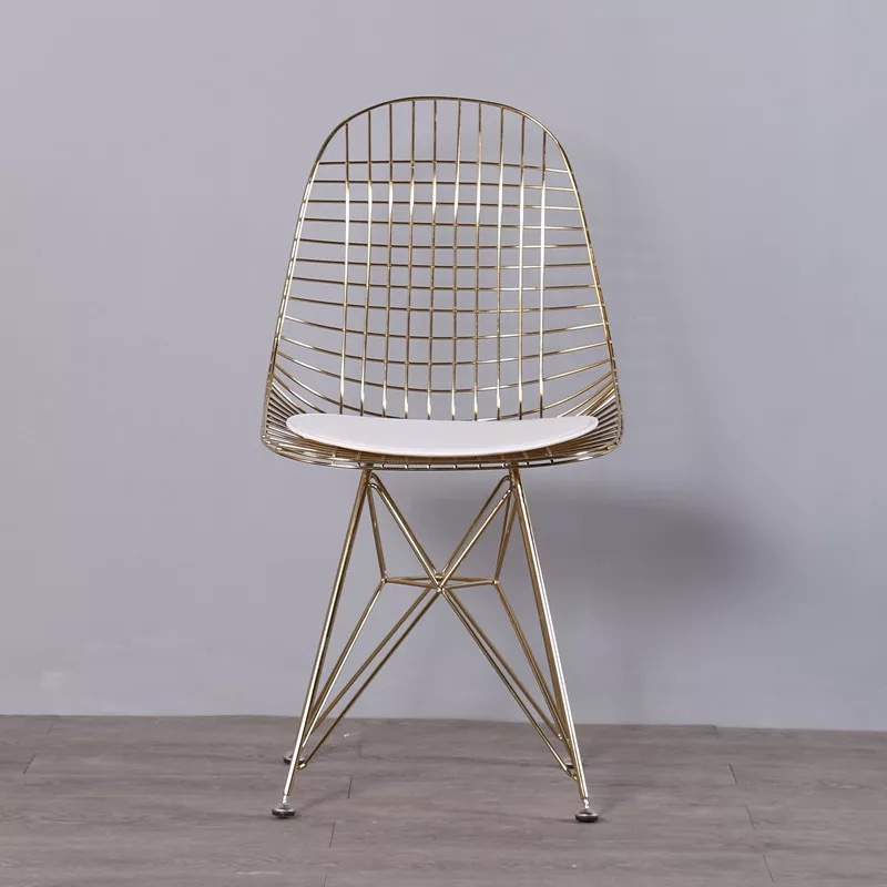 Free shipping U-BEST Modern Dining Room Wire Rose Gold Metal Chair,Wire Dining Side Chair with Faux Leather Seat Cushion free shipping dining stool bathroom chair wrought iron seat soft pu cushion living room furniture