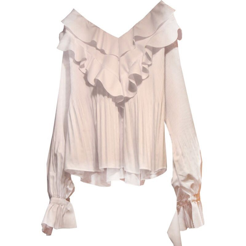 Long Sleeved Ruffles Women Blouse And Shirts V-neck Sexy Office Lady Elegant Loose All Match Shirts Outwear Tops