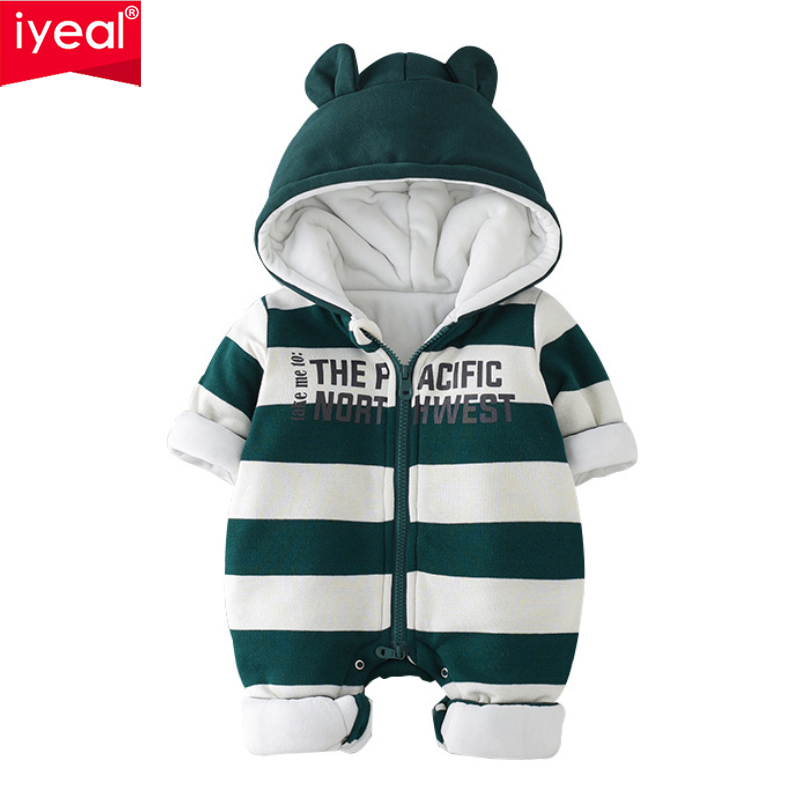 IYEAL Winter Newborn Baby Rompers Cute Ears Hooded Cotton Padded Baby Girl Boy Clothes Thickening Jumpsuits Infant Outerwear 6003 aosta betty baby rompers top quality cotton thickening clothes cute cartoon tiger onesie for baby lovely hooded baby winter