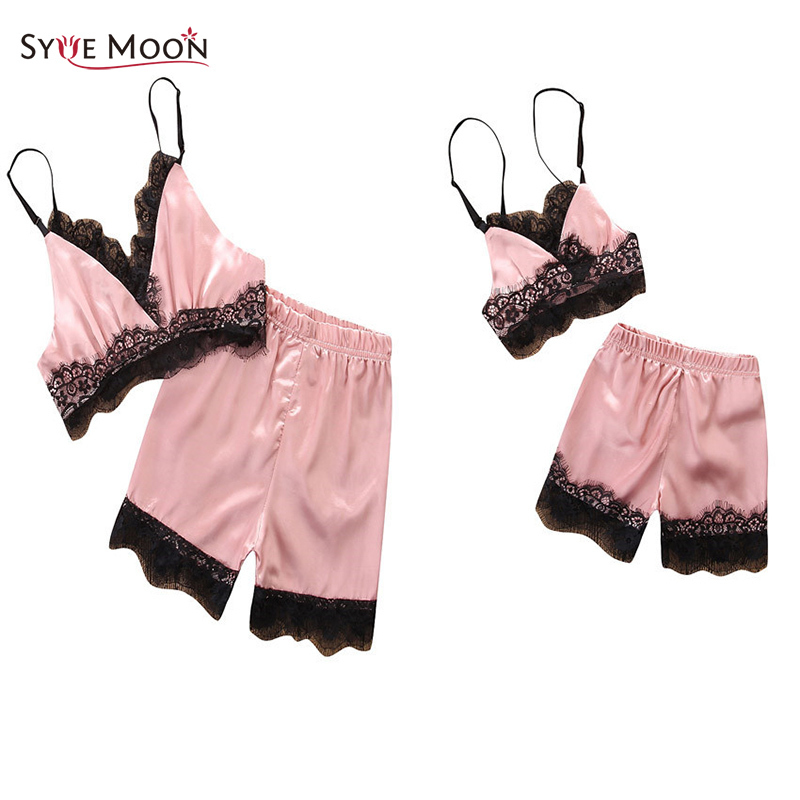 Summer Mother Daughter Lace Sex Pajamas Sets Family Matching Clothes Family Sling Tanks + Shorts Sets Mom And Daughter Sleepwear ...