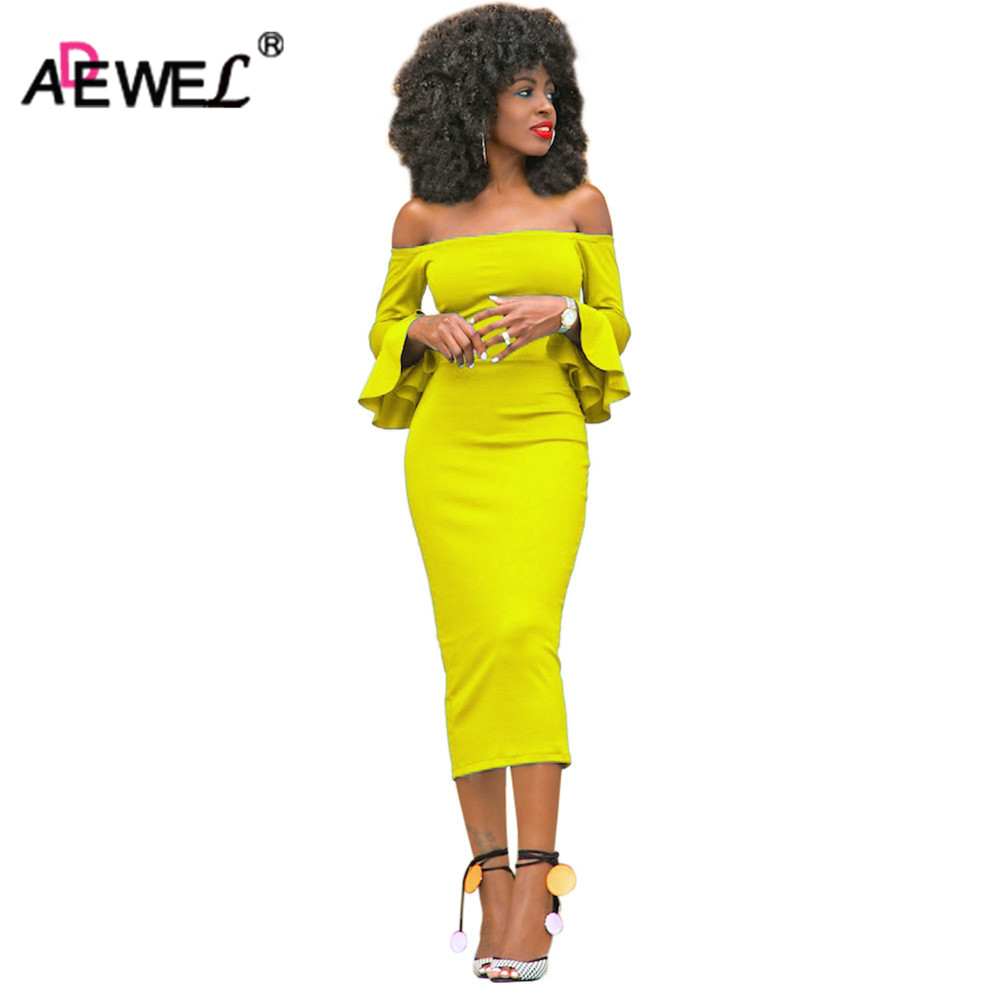 ADEWEL 2019 Long Flare Sleeve Women Midi Bodycon Dress Sexy Off Shoulder Elegant Slim Party