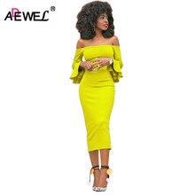 ADEWEL 2019 Long Flare Sleeve Women Midi Bodycon Dress Sexy Off Shoulder Elegant Slim Party