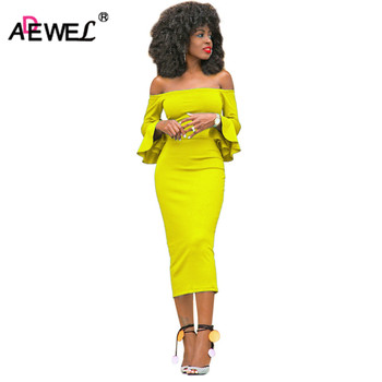ADEWEL 2020 Long Flare Sleeve Women Midi Bodycon Dress Sexy Off Shoulder Elegant Slim Party Dress khaki hollow design off shoulder bodycon party dress