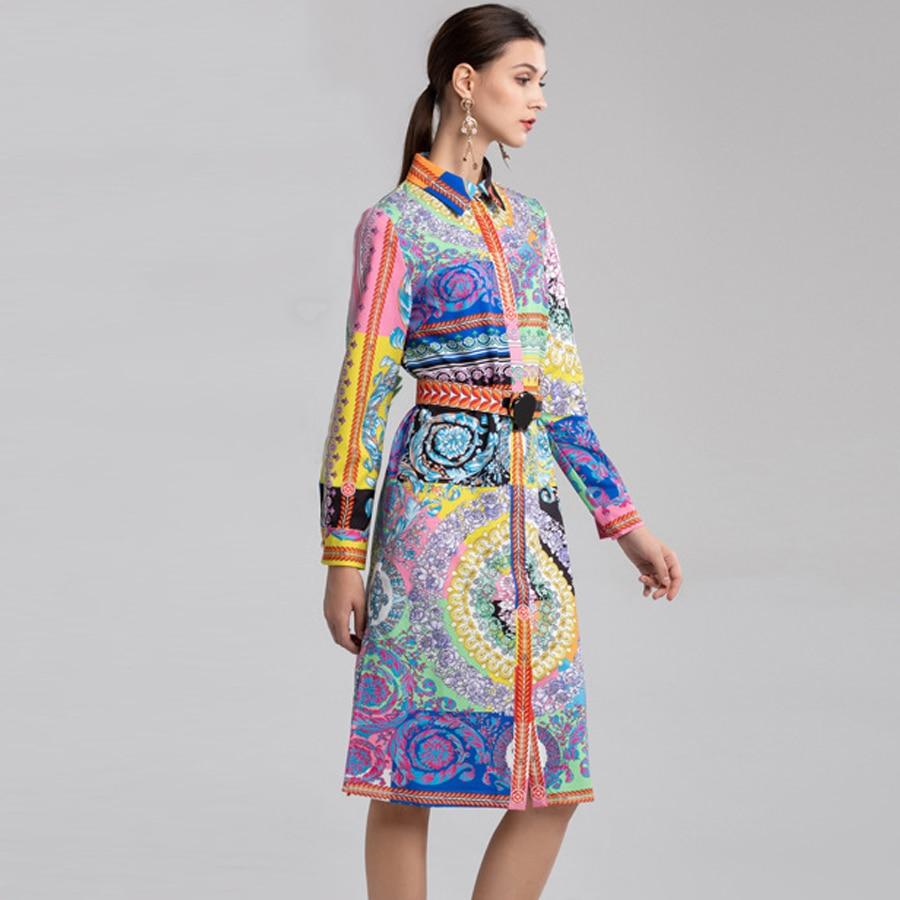 À Mode Robe Élégant Imprimé De Longues Printemps D'été Ceinture Femmes 2019 Manches Aeleseen Designer Vintage PqYwH0