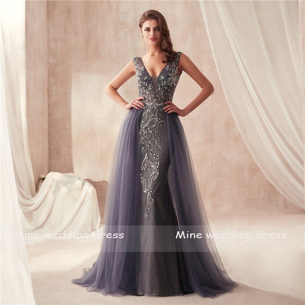 V-cou De Luxe Perles Sirène De Bal robes vin rouge/Gris Sans Manches robes de soirée Cristaux Longue robe robe de bal 2019 - 5