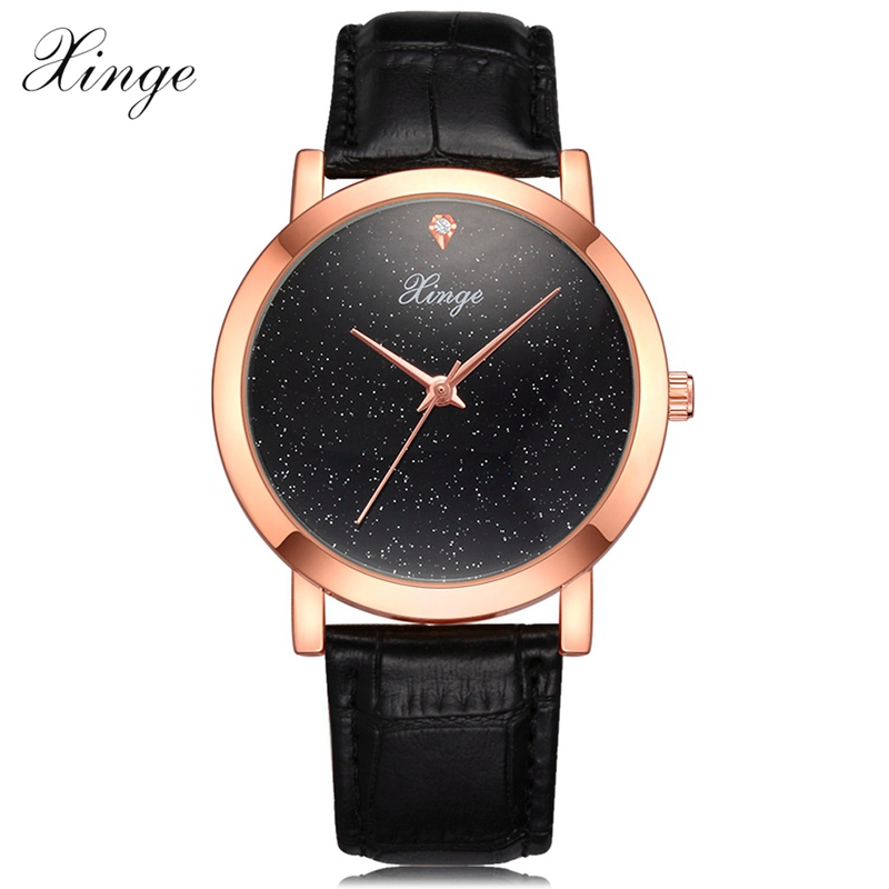 Xinge Brand Fashion Watch Women Leather Rose Gold Ladies Quartz Wrist Watches Clock Black Womens Business Dress Wristwatch Clock xinge brand fashion women quartz wrsit watches clock leather strap business watch ladies silver luxury female sport womens watch