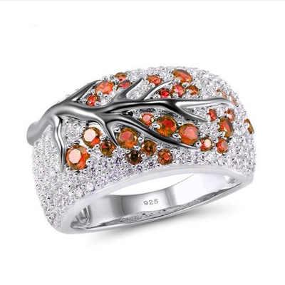 Роскошные 925 серебро розовый большой CZ Кристалл Свадебные женские кольца для женщин Простые зеленые листья геометрическое серебрянное кольцо с кристаллами